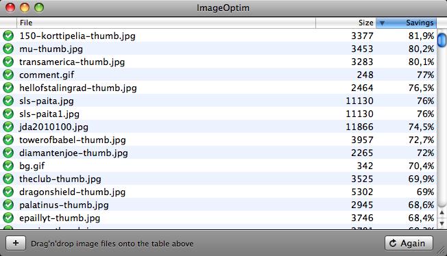 ImageOptim-ohjelman ikkuna
